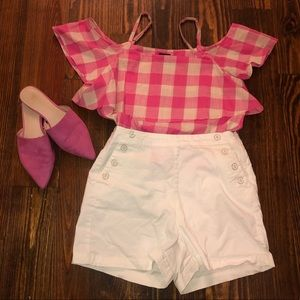 Outfit bundle of Gingham top and white shorts